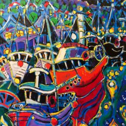 Brian Scott Fine Arts Canadian Oil Painter-Moon Fleet 30 x 40 inches
