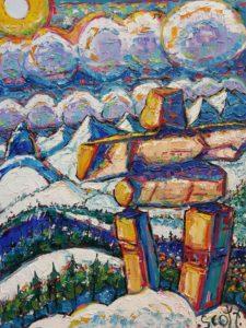 Brian Scott Fine Arts Candian Oil Painter-Inukshuk Whistler 30 x 40 inches