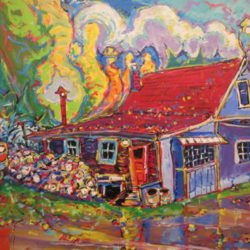 Brain Scott Fine Arts Canadian Oil Painter-Tree House-Sheldons Parents House 24 x 36