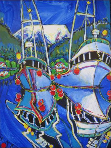 Brain Scott Fine Arts Canadian Oil Painter-Father and Son Fishboats 30 x 40