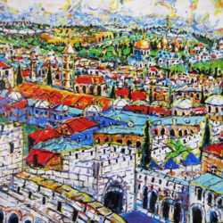 Brain Scott Fine Arts Canadian Oil Painter-Jerusalem from Davids Tower 36 x 48