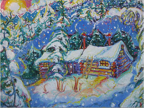 Brain Scott Fine Arts Canadian Oil Painter-Whistler Village-Mount Becher Cabin 24 x 36